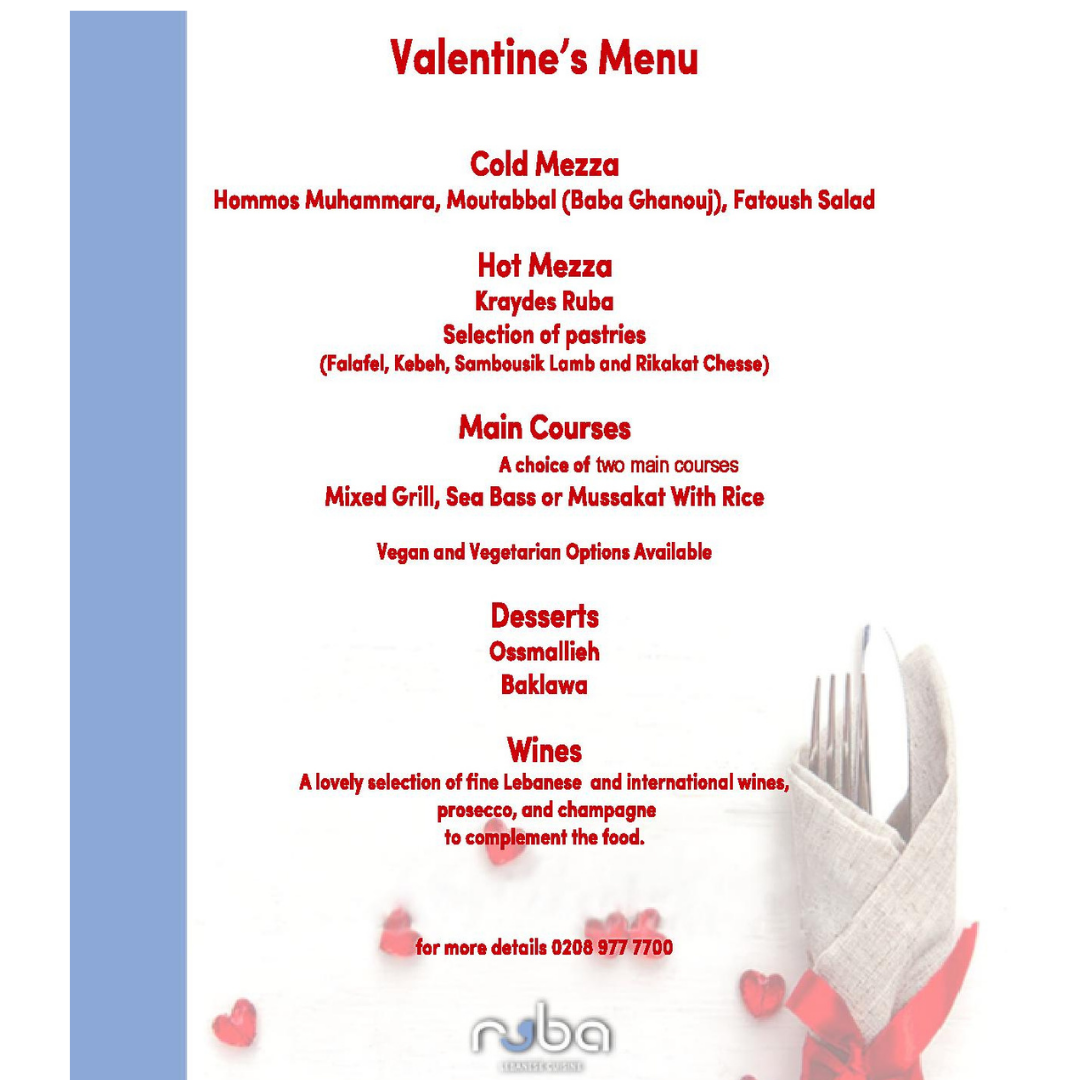 Ruba Restaurant - Valentine's Day Menu 2021